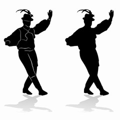 silhouette of folklore dancer, vector draw