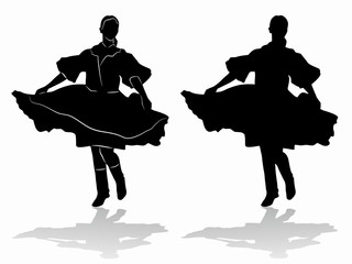 silhouette of woman folklore dancer, vector draw