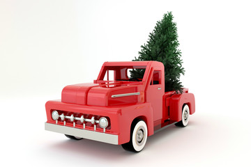 3d rendering red pickup vintage transport green tree snow engine vechcle decoratiom cargo chrome isolated white background