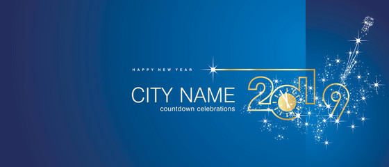 New Year 2019 gold clock firework midnight countdown celebrations blue background