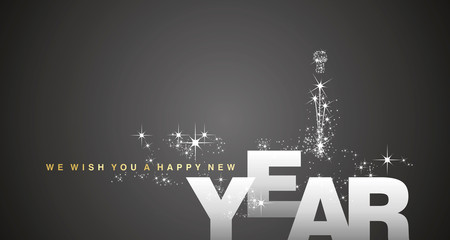 We wish you a Happy New Year gold silver black background
