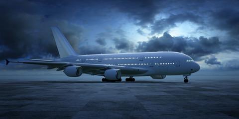 passagierflugzeug landebahn dämmerung