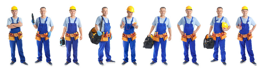 Set with professional electrician and tools on white background