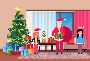 merry christmas happy new year snata claus with children in living room pine tree home interior decoration winter holiday concept flat horizontal