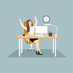 Happy business woman sitting at workplace with arms raised. Flat illustrations on blue background.