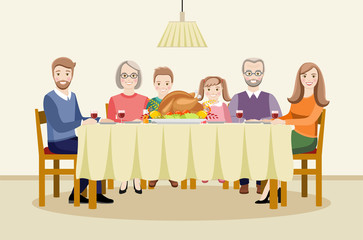 Thanksgiving Day. The family celebrates Thanksgiving at the table. Flat vector illustration for design.