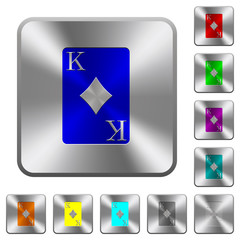King of diamonds card rounded square steel buttons