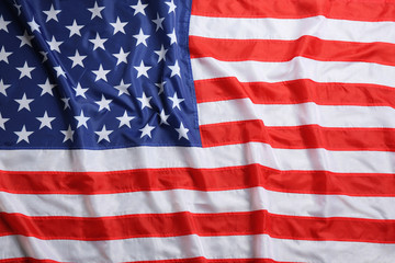American flag as background, top view. National symbol of USA