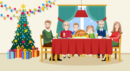 Christmas day. Family celebrates Christmas at the table. Flat vector illustration for design.