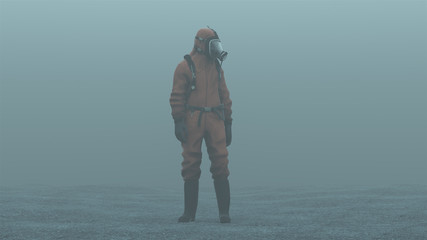 Man in a Hazmat suit foggy overcast wasteland 3d Illustration 3d render Wall mural