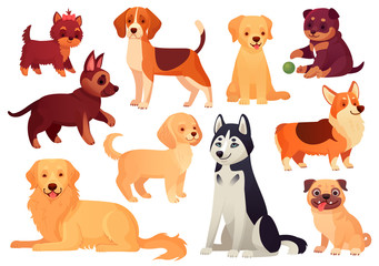 Cartoon puppy and dog. Happy puppies with smiling muzzle, loyal dogs and friendly dog isolated vector set
