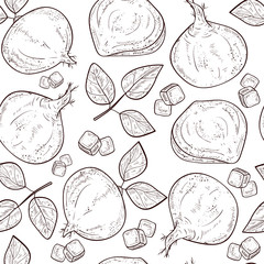 Jicama. Vegetable. Root, sheet. Sketch. Seamless, background, texture, wallpaper. Monophonic