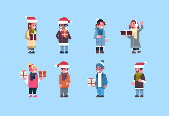 set man woman wearing winter clothes red hat hold gift box present merry christmas holiday happy new year concept male female cartoon character full length flat horizontal