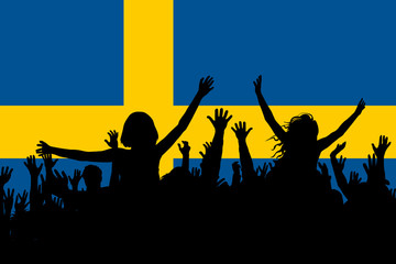 People silhouettes celebrating Sweden national day