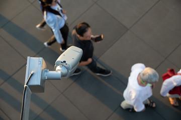 CCTV security camera surveillance the traveller on shopping area