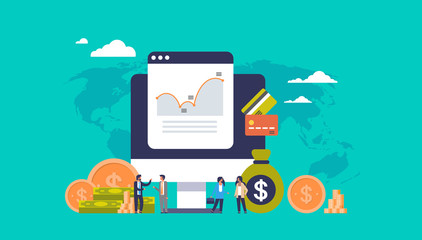 e-commerce business money graph growth wealth concept dollar coin icon people finance ecommerce analysis over world map background flat horizontal