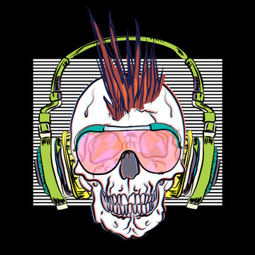 Cool musical print with skull. Generation 70s. Reflection of punk culture. Trendy pattern for t-shirt.