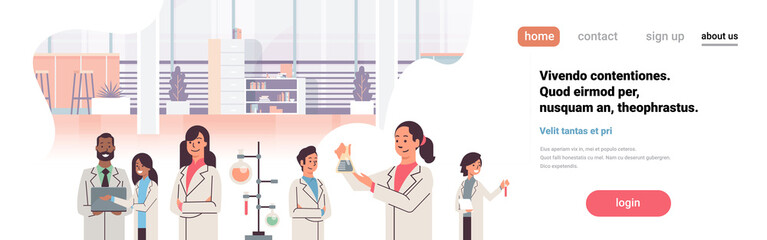 group scientists working laboratory doing research test tube dropper mix race team study chemicals experiments In modern lab flat copy space portrait banner