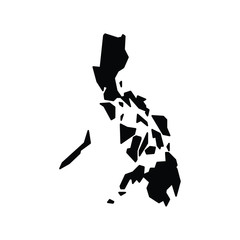 A black and white vector silhouette of the Philippines
