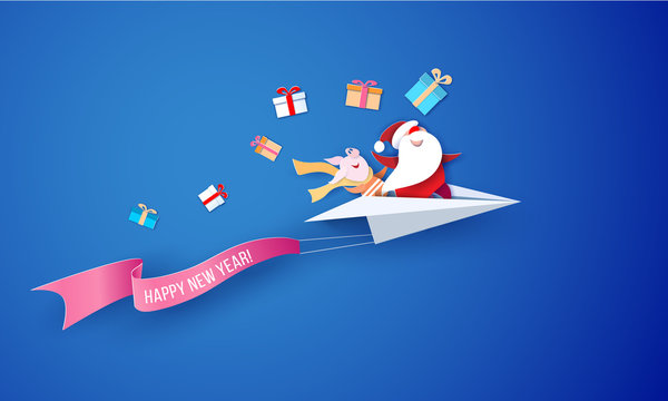 2019 New Year Sale design card with Santa Claus