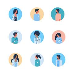 set man woman medical doctor stethoscope profile icon mix race male female avatar portrait healthcare concept flat