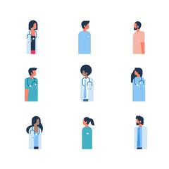 set man woman medical doctor stethoscope profile icon mix race male female silhouette portrait healthcare concept flat