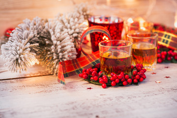 Whiskey, brandy or liquor shot and Christmas decorations