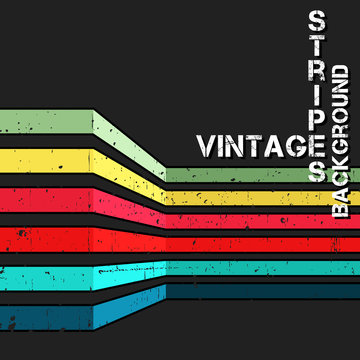 Vintage vector background with grunge colorful stripes