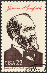 USA - CIRCA 1986: shows Portrait of James Abram Garfield (1831-1881), 20th president of the United States, series Presidents of USA
