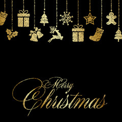 Christmas greeting card with gold ornaments. Vector.