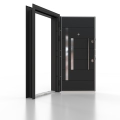 Metal door chrome and black . 3D rendering. 3D illustration