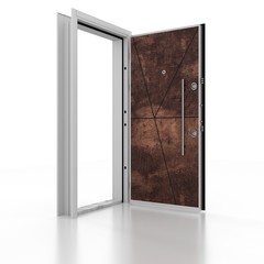 Metal door . 3D rendering. 3D illustration
