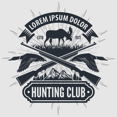 Vintage style hunt club logo with hunting rifles. Vector illustration