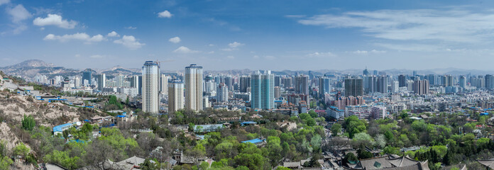Canvas Prints Kuala Lumpur LANZHOU, CHINA-APRIL 19,2015: Gaolan Road Residential District of Lanzhou city, Gansu province, China. View from Gaolan Mountain,