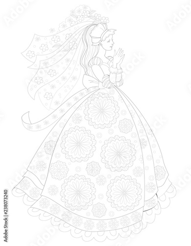 """""""Black and white page for coloring book. Fantasy drawing ..."""