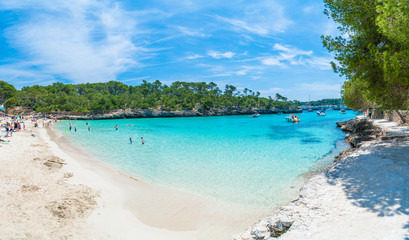 Fototapete - Landscape with beach and turquoise sea water on Cala Mondrago, Majorca island, Spain