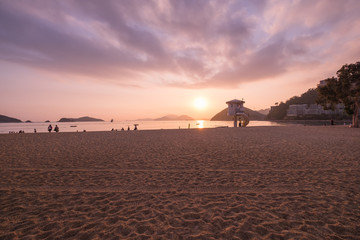 View of Repulse Bay Beach in sunset time The Repulse Bay at southern of Hong Kong
