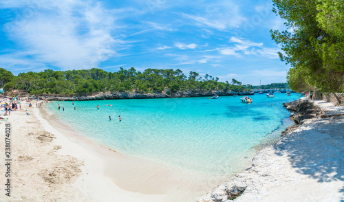 Wall mural Landscape with beach and turquoise sea water on Cala Mondrago, Majorca island, Spain