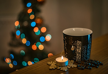 christmas background with candle and lights