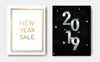 New Year sales concept night flyers banner with 3D silver numbers 2019,glowing stars,light flashes on christmas snowflakes background.New year sale flyer poster,greeting card,web online concepts