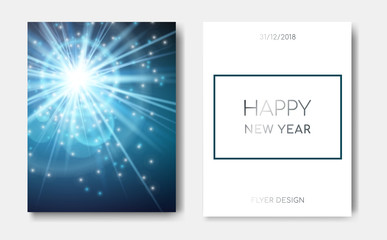 Happy New Year night banner flyers with Sparks glitter glowing,star burst glow and lens flare on blue and white background.Show,Concert,Night club party flyer poster,greeting card,web online concept