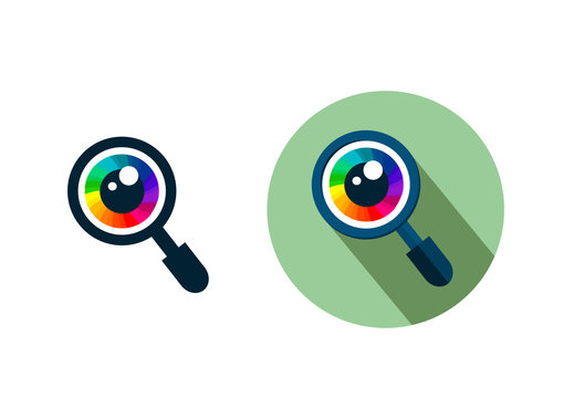 Analysis icon, magnifier search glass with eye flat vector