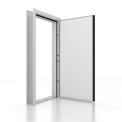 Metal door white mockup . 3D rendering. 3D illustration