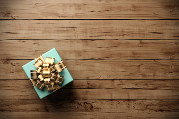 Gift box on the old wooden background 3D rendering
