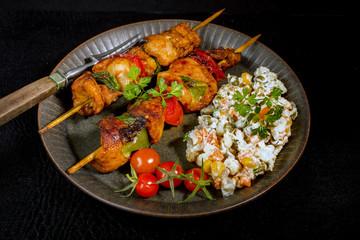 Kebab - grilled meat and vegetables salad.