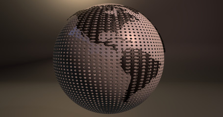 A background of the planet Earth which looks like a ball of golf, which shows the America continent.