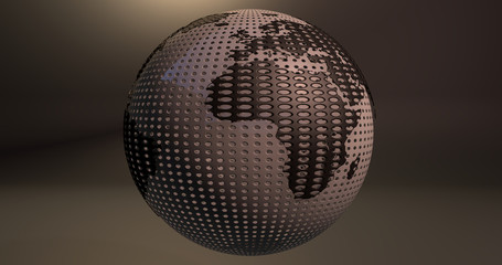 A background of the planet Earth which looks like a ball of golf, which shows the Africa continent.