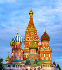 Cathedral of Vasily the Blessed (Saint Basil's Cathedral) on Red Square at sunset, Moscow, Russia