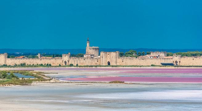 Aigues-Mortes, Salins du Midi, panorama with salt marshes