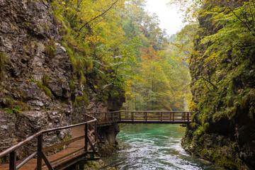 Vintgar gorge river  wooden trail bridge.